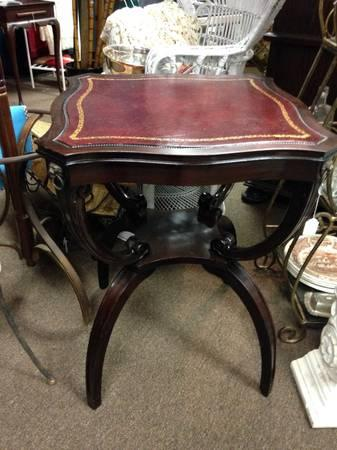 Antique Mahogany Leather Top Lion Trimmed End Table
