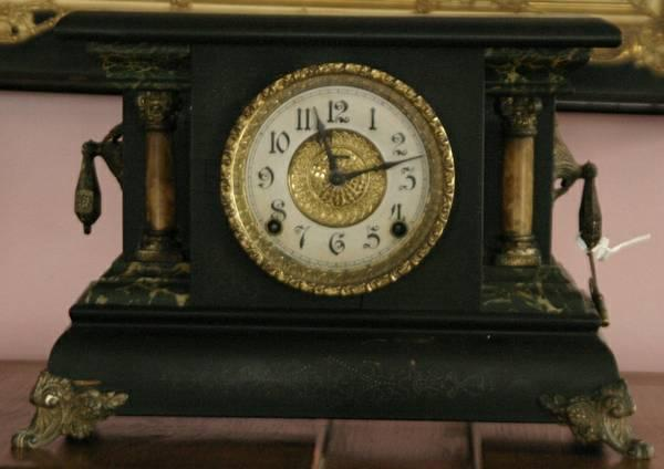 antique mantle clock with scroll feet faux marble Adamantine columns