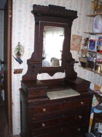 Antique Marble Top Dresser W Tilt Mirror For Sale In