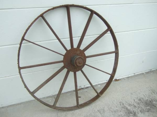 Antique Metal 26 Tall Rustic Wagon Wheel For Sale In