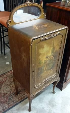 Antique MUSIC CABINET Lp Cabinet French Painted Ornate