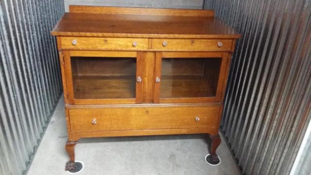 Antique Oak Buffet Sideboard With Gl Doors And Cat