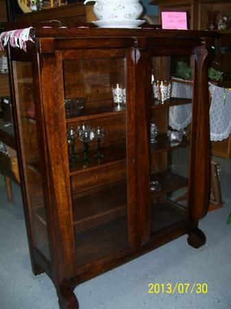 ANTIQUE OAK CHINA CABINET - $495