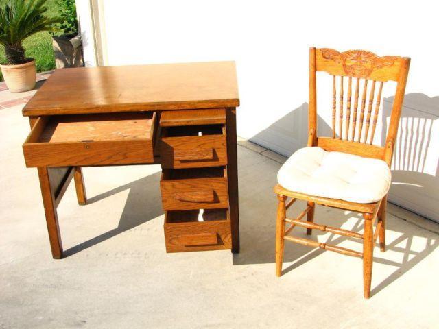 Antique Oak Desk Early 1900 S W Chair Great Student Desk