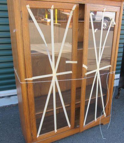 Antique Oak Display Cabinet With Glass Doors 3 Shelves For Sale