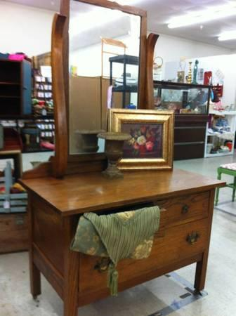 ANTIQUE OAK DRESSER WITH MIRROR - $299