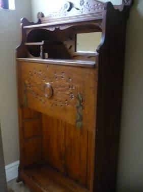 Antique Oak Drop leaf Secretary bookcase