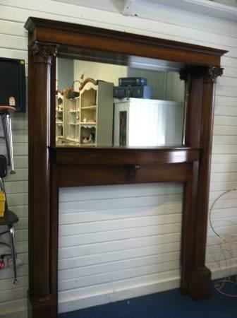 Antique Oak Fireplace Mantel W Bevel Glass Mirror For