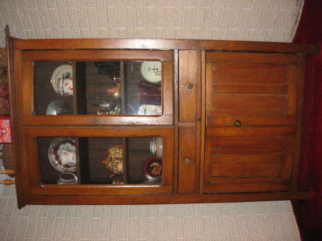 Antique Oak Kitchen Cupboard w/Glass Doors