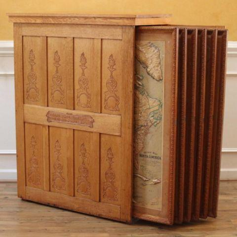 Bon Antique Oak Old School House Map Cabinet With Relief