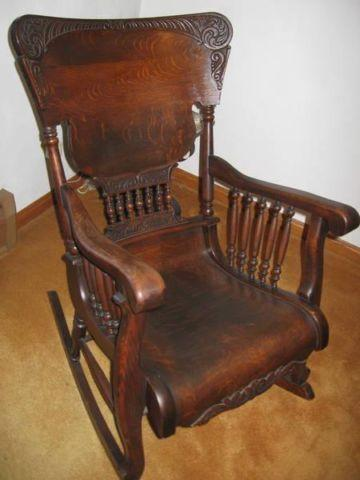 Antique Oak Rocking Chair Very Fancy For Sale In Parker