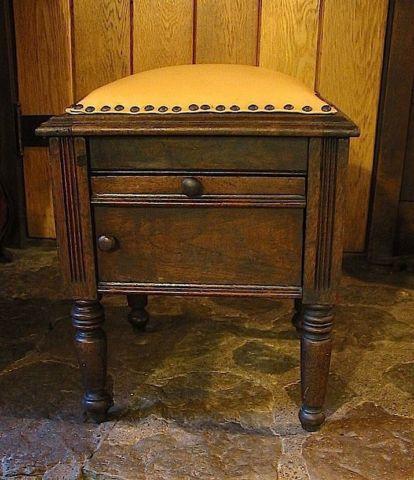 Antique Oak Shoe Shine Box Stool W Leather Seat Amp Iron