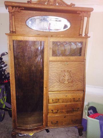 Antique Oak Side By Side Secretary Desk Larkin Co For