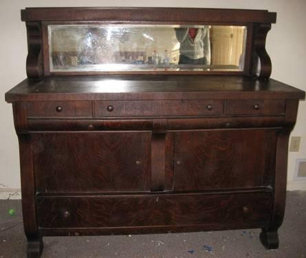 Antique Oak Sideboard Buffet With Mirror For Sale In