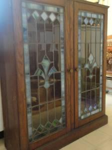 Antique Oak Stained Glass Bookcase Baltimore For Sale