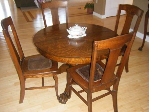 Gentil ANTIQUE OAK TIGER WOOD DINING ROOM SET   $1800