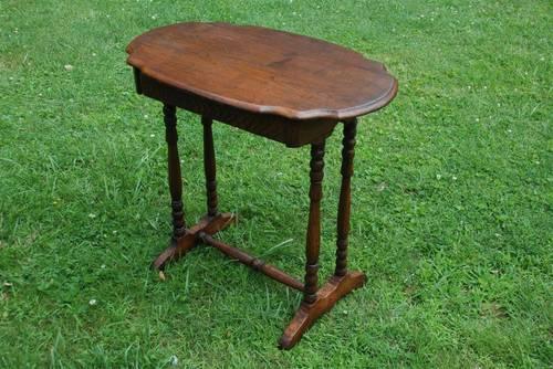 Antique Oak Wood Table One Drawer Vintage Very Nice
