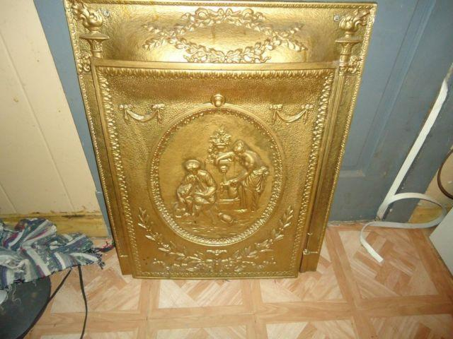 antique old cast iron fireplace front summer cover door