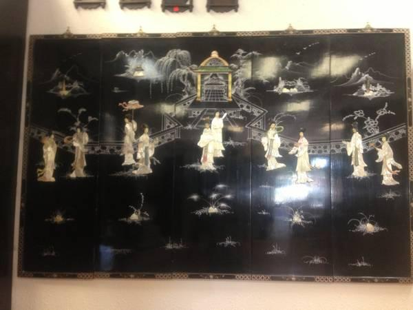 Antique Oriental Carved Mother Of Pearl Geisha Black Lacker Wall Frame - $350