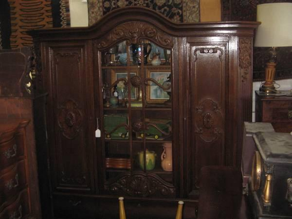 Antique Ornate Oak 3 door China Cabinet Large - $1299