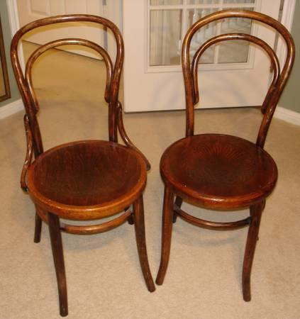 Antique Pair Of Thonet Bentwood Cafe Chairs   $150