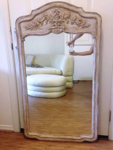 Antique Pickled Country French Provincial Wall Mirror Carved White