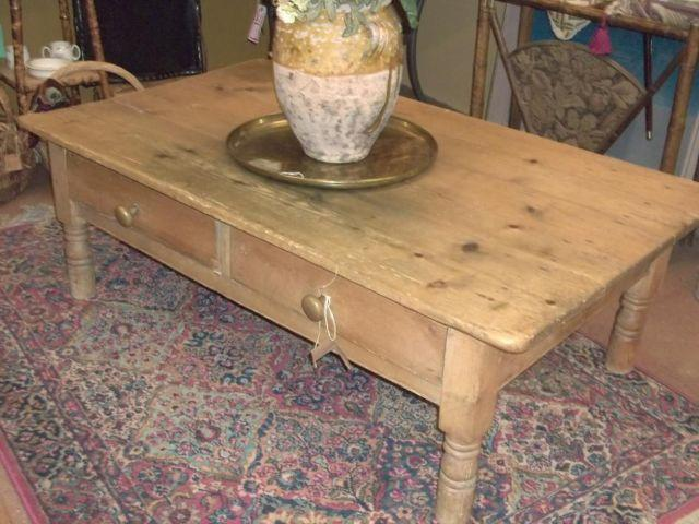Antique Pine Coffee Table With Drawers