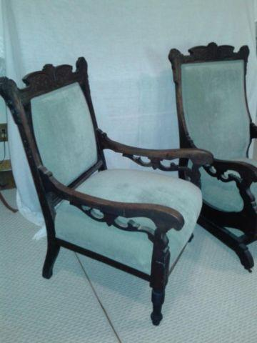 Antique Platform Rocker and Side Chair