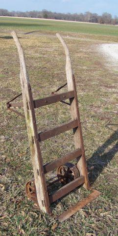 Antique Primitive Industrial Warehouse Wood & Iron Hand