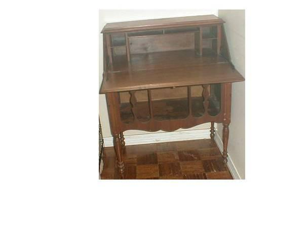 Antique Red Lion Desk Secetary With Radio Cabinet below - Antique Red Lion Desk Secetary With Radio Cabinet Below - For Sale