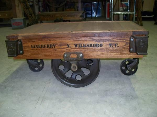 Antique Restored Factory Cart Coffee Tables For Sale In