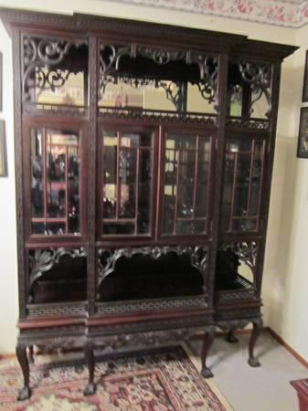 Antique Rosewood Chinese Chippendale Style China Cabinet