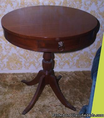 Antique round side table w small drawer amp brass claw feet nice for
