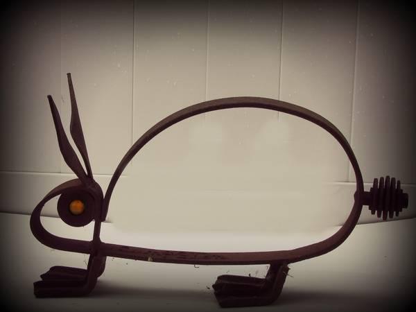 Antique Rustic Cast Iron Handmade Rabbit - $15