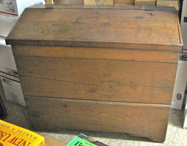 Antique Rustic Oak Farm Feed Bin Chest Great House Decor