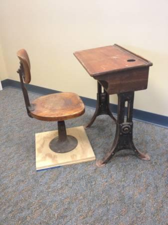 Antique School Desk and Chair circa early 1900s with iron