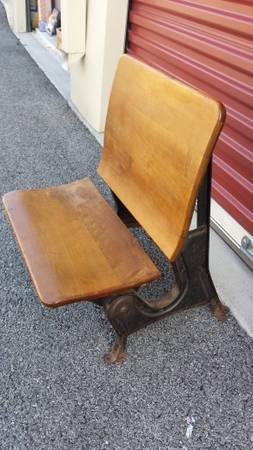 Antique School Desk Chair Folding Wood Seat W Iron