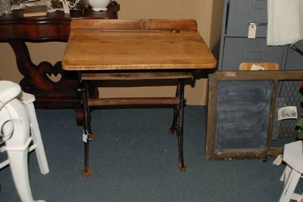 Antique School Desk with Cast Iron Base - $65