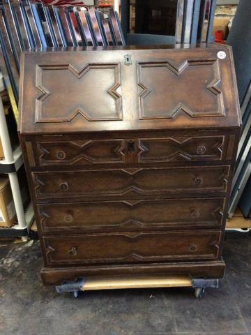 Antique Secretary Desk with Drop Front, Key & Lock