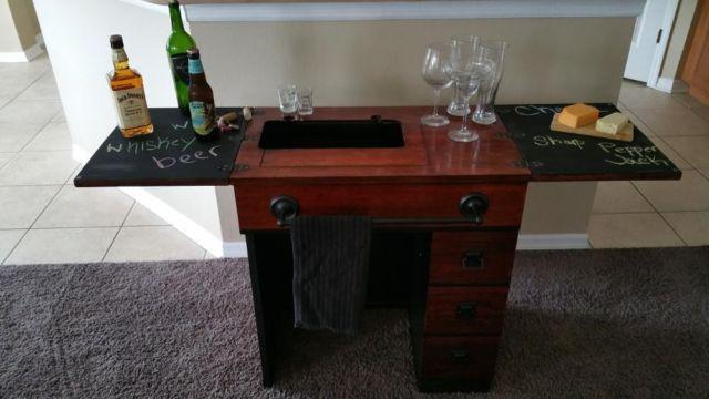 Antique Sewing Table Turned Wet Bar