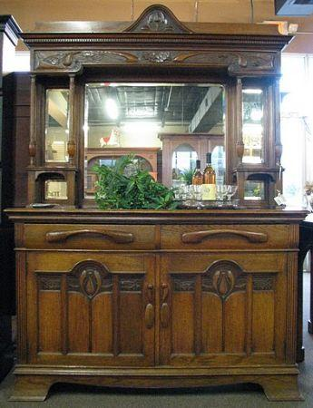 Antique Sideboard Buffet With Mirrored Hutch Spring