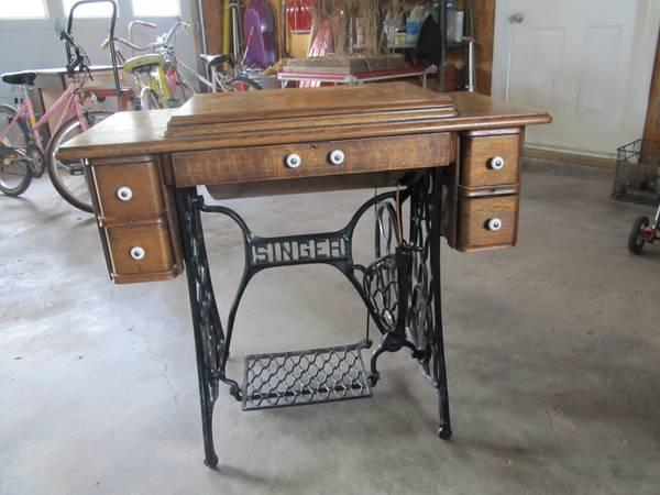 antique singer treadel sewing machine - $140