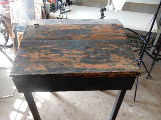 Antique Slant Top Desk Original Condition For Sale In