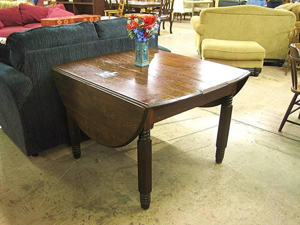 Antique Solid Dark Wood Drop Leaf Table Eugene Liquidators