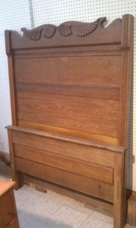 Antique solid oak 3 4 bed high top headboard footboard and for 3 4 beds for sale