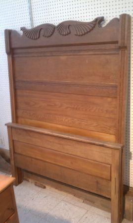 Antique Solid Oak 3 4 Bed High Top Headboard Footboard