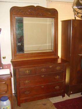 Antique Solid Oak Acorn & Oak Leaf Carved Bed & Dresser