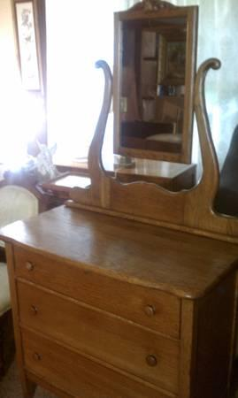 Antique Solid Oak Dresser With Three Drawers And Mirror