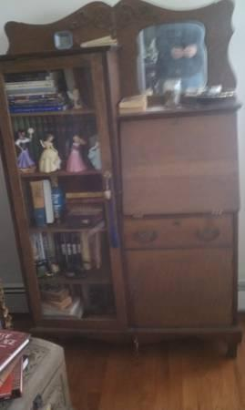 Antique Solid Tiger Oak Side By Desk Secretary