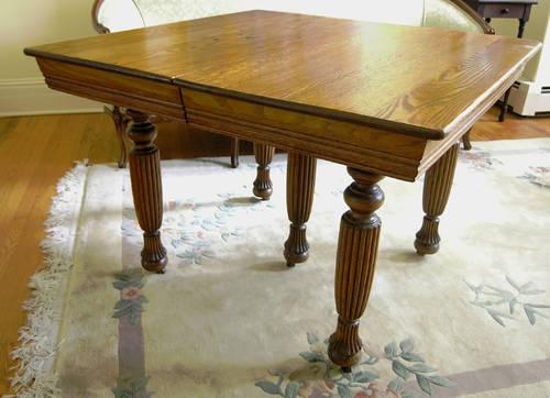 Antique Square Oak Table 2 Leaf Circa 1900 For Sale In